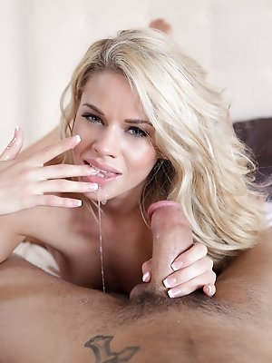 Cum hungry coed Jessa Rhodes gives her man a juicy morning blowjob and a stiffie ride in her creamy landing strip pussy